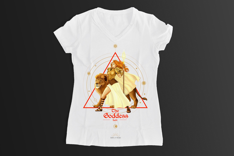 חולצת וי מזל אריה לבנה XL
